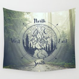 Compass Mountain Road Trip Wall Tapestry