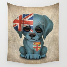 Cute Puppy Dog with flag of Fiji Wall Tapestry