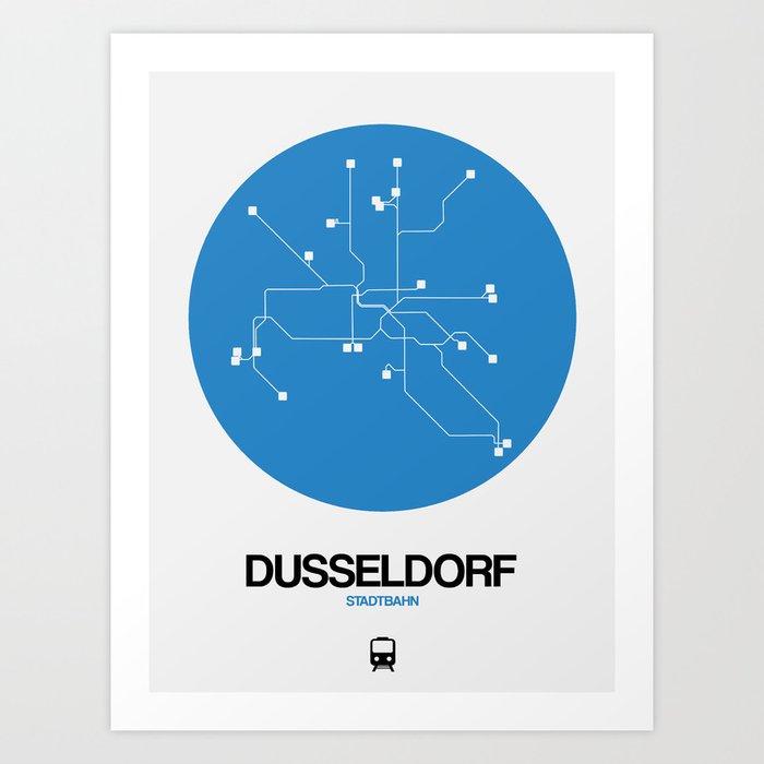 Dusseldorf Subway Map From Airport.Dusseldorf Blue Subway Map Art Print By Naxart