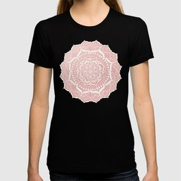 White Flower Mandala on Rose Gold T-shirt