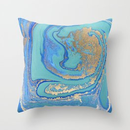 marble stone turquoise and gold Throw Pillow