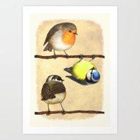 Three Little Birbs - Brown Art Print