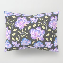Bohemian pink lilac blue watercolor hand painted flowers Pillow Sham