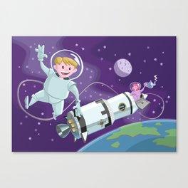 space walk astronaut couple having tea Canvas Print