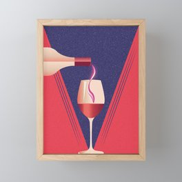 Minimalist style poster with glass and bottle of wine Framed Mini Art Print