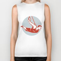 crossfit Biker Tanks featuring Crossfit  Athlete muscle-up Ring Retro by patrimonio