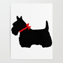 Scottie Dog with Red Bow Poster