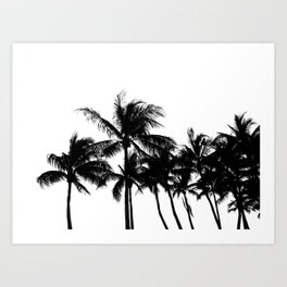 Tropical Palm Trees Black and White Art Print