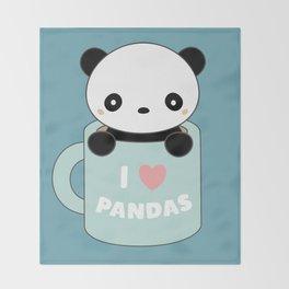 Kawaii I Love Pandas Throw Blanket