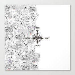 North South East & Westie Dog Canvas Print