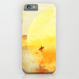 Golden Sun Surf Abstract Art iPhone Case