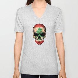 Dark Skull with Flag of Lebanon Unisex V-Neck