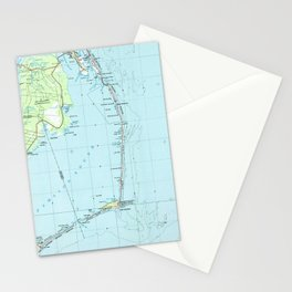 Vintage Southern Outer Banks Map (1957) Stationery Cards