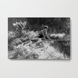 Nepal Village Boy Fishes After Storm Metal Print