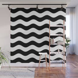 Wavy Stripes (Black/White) Wall Mural