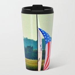 US Flag Sailboat Travel Mug