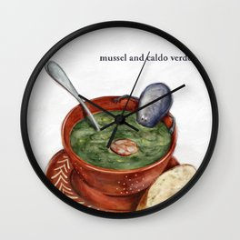 La Cuisine Fusion - Mussels with Caldo Verde Wall Clock