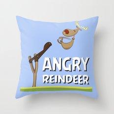 Angry Reindeer Throw Pillow