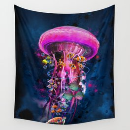 Pink Electric Jellyfish Wall Tapestry