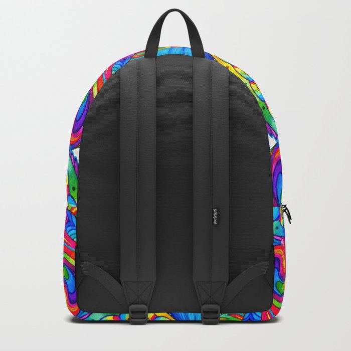 Psychedelizard Colorful Psychedelic Chameleon Rainbow Lizard Backpack