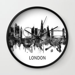 London England Skyline BW Wall Clock