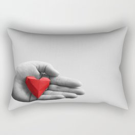 hand with red heart Rectangular Pillow