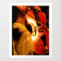 cello Art Prints featuring Cello by LittleTinyAnimals