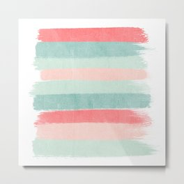 Stripes painted coral minimal mint teal bright southern charleston decor colors Metal Print