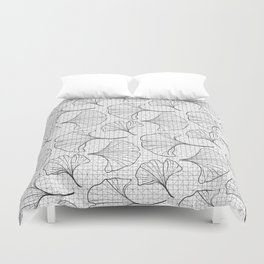 grid in black and petals Duvet Cover