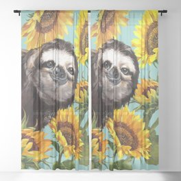 Sloth with Sunflowers Sheer Curtain