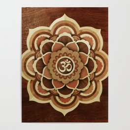 Patience and lucky of harmony mandala wood marquetry Poster