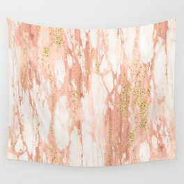 Rose Gold Marble - Rose Gold Yellow Gold Shimmery Metallic Marble Wall Tapestry