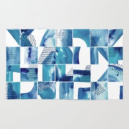 Blue Watercolor Typographical Fragments Cheater Quilt Rug
