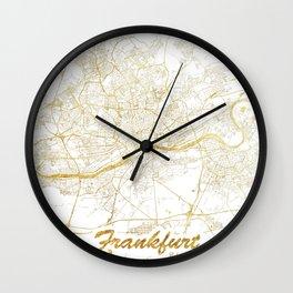 Frankfurt Map Gold Wall Clock