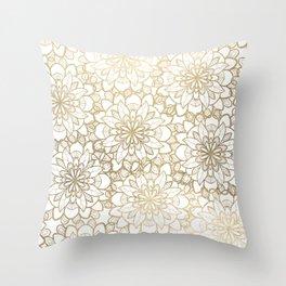 Elegant Hand Drawn Faux Gold White Floral Illustration Throw Pillow