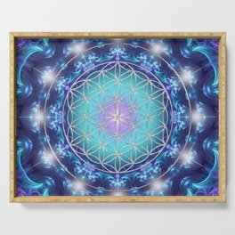 Flower Of Life Mandala Fractal turquoise Serving Tray