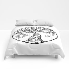 black and white tree of life with hanging sun, moon and stars I Comforters