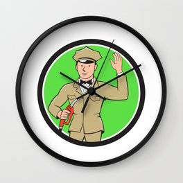 Gas Jockey Attendant Waving Circle Cartoon Wall Clock