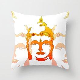 Buddha Head Illustration orange Throw Pillow