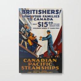 Canadian Pacific Steamships Vintage Travel Poster Metal Print