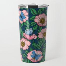 Dog rose and butterflies Travel Mug
