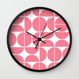 Mid Century Modern Geometric 04 Pink Wall Clock
