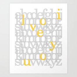 The ABC of i love you. In Yellow Art Print