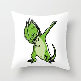 Funny Dabbing Iguana Reptile Dab Dance Throw Pillow