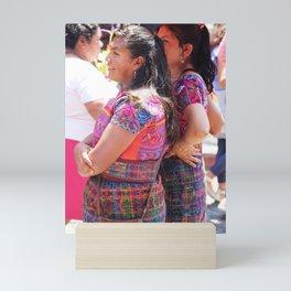 Two Guatemalan Girls Viewing Processions Mini Art Print