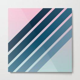 Classic Retro Stripes on Pink Blue Color Gradient Metal Print