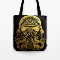 gold foil Tote Bags featuring Mandala StormTrooper - Gold Foil by Spectronium - Art by Pat McWain