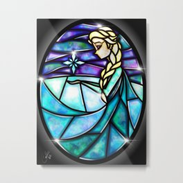 Stained Glass Elsa Metal Print