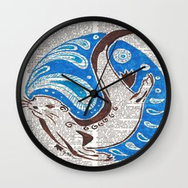 A Ring of Bright Water  (an otter on dictionary page) Wall Clock