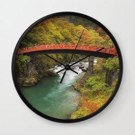 Shinkyo Bridge in Nikko, Japan in autumn Wall Clock